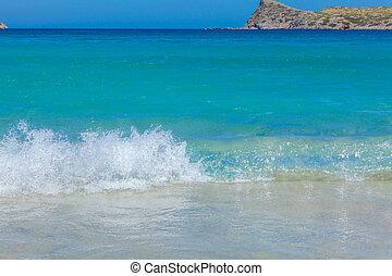 creta, estate, scena, spiaggia