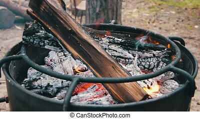 Bonfire with Wood and Coal Burning on the Grill. Full HD...