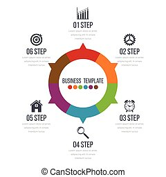 Infographic design with colored and white circles on the...