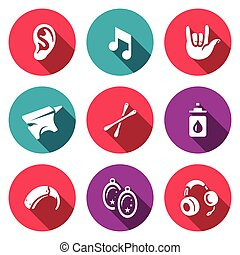 Vector Set of Deafness Icons. Ear, sound, sign language,...
