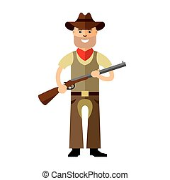Vector Cowboy with rifle. Flat style colorful Cartoon...