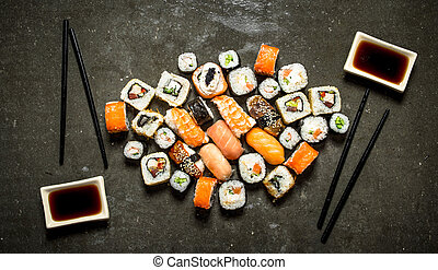 variety rolls and sushi