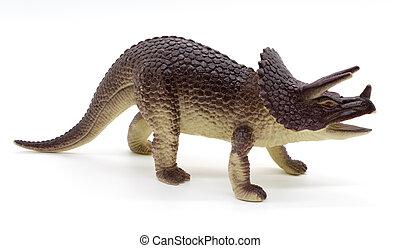 Triceratops, dinosaurios, juguete, en, blanco, Plano de...