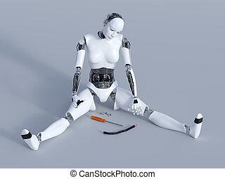 3D rendering of a broken female robot.