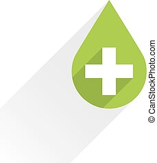 First aid drop green sign flat style - First aid drop green...