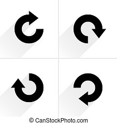 Black arrow sign rotation, repeat, reload icon - 4 arrow...