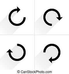 Black arrow sign refresh, rotation, reload icon - 4 arrow...