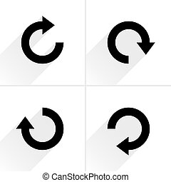 Black arrow sign refresh, rotation, reset icon