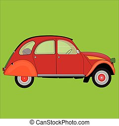 Red car on a green background. Vector illustration