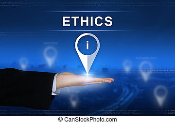 Ethics button on blurred background - Ethics button with...