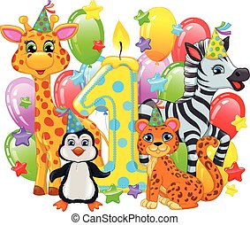 First birthday composition cute animals