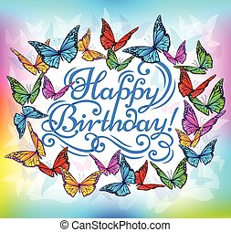 Happy Birthday banner bright butterfly.