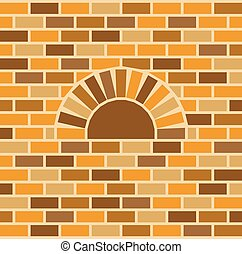 vector brick oven and wall background