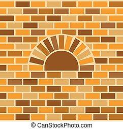 pared, ladrillo,  vector, horno