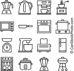 vector kitchen household icons