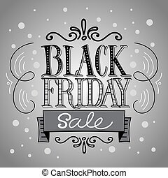 Black Friday Sale vector Background Hand Lettered Text with...