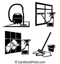 cleaning icons - set of vector silhouette icons of black...