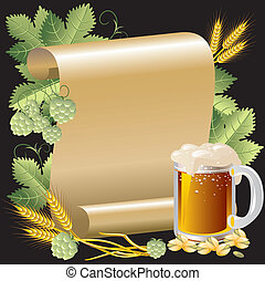 beer and roll - Vector Image beer in the background of the...