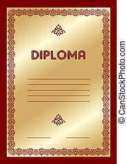 diploma - vector template for the gold award diploma