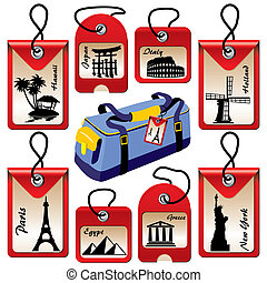 travel labels - set of vector labels for travel to various...