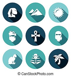 Vector Set of Egypt Icons. Sphinx, Dune, Sun, Bedouin, Artifact, Paranja, Cat, Pharaoh, Oasis.
