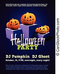 Halloween party poster with scary pumpkins on pedestal -...