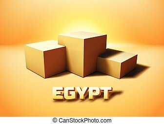 Egypt symbolic pyramid ruins represented with 3D cube...