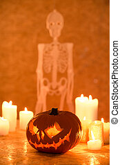 Skeleton on wall - Halloween ornaments with skeleton on wall...