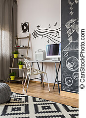 Home office with chalkboard wall idea