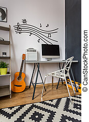 Touch of music at home office - Modern home office with...