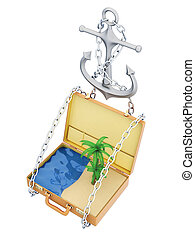 Open suitcase with beach and sea inside. 3d illustration on a white background