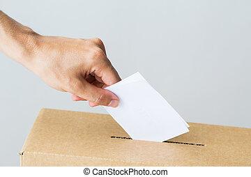 箱子, 他的, 放, 選舉, 投票, 選票, 人