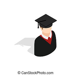 Graduate man in cap and gown icon