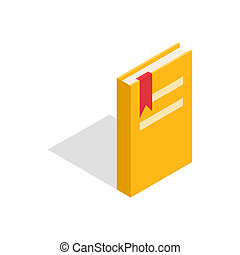 Closed yellow book with a bookmark icon