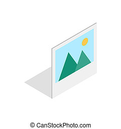 Picture with mountains and sun icon - icon in isometric 3d...