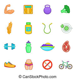 Healthy lifestyle icons set, cartoon style - Healthy...