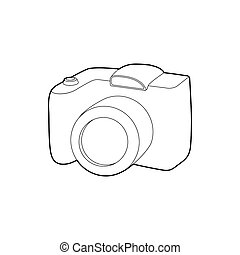 SLR camera icon, outline style - SLR camera icon in outline...