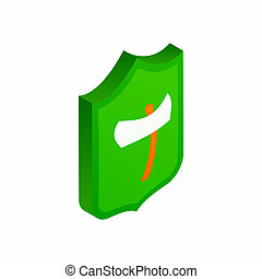 Viking shield with axe icon, isometric 3d style - Viking...