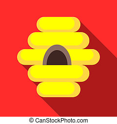 Bee house icon, flat style - Bee house icon in flat style...