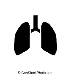 Human lungs icon, simple style - icon in simple style on a...
