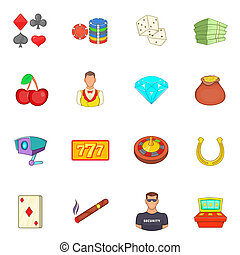 Casino icons set, cartoon style - Casino icons set in...