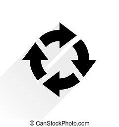 Black arrow icon rotation on white background - Black arrow...