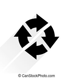 Black arrow icon repeat sign on white background - Black...