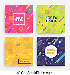 Set of abstract vector background - Vector set of abstract...