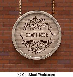 Wooden cask signboard with flourishes beer emblem - vector...