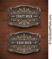 Old wooden beer signboards