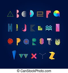 Abstract multicolored alphabet.