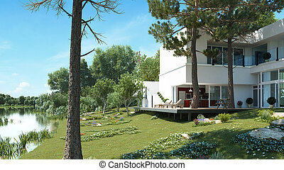 A modern house at a quiet lake - A 3D-Illustration of a...