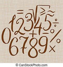 Hand drawn calligraphic number set - Hand drawn calligraphic...