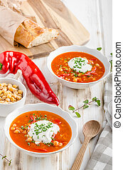 Chickpea soup with pepper